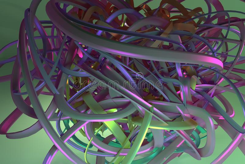 抽象CGI构成,几何的束杂乱串 图形设计的墙纸 五颜六色的3d翻译 皇族释放例证