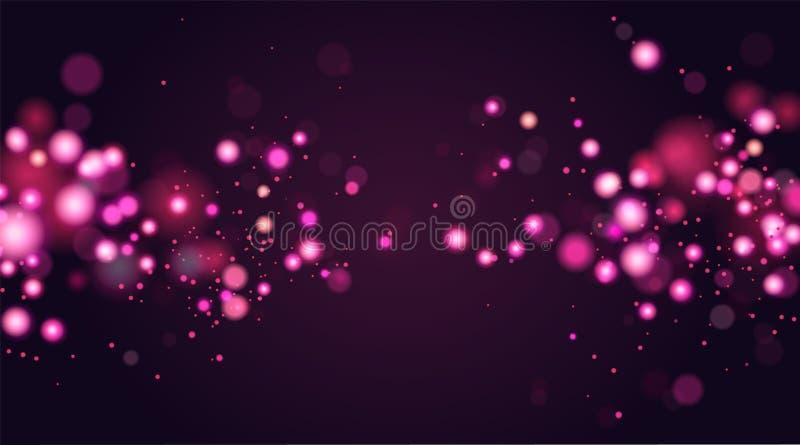 抽象defocused圆bokeh闪闪发光闪烁点燃背景 背景圣诞节魔术 典雅,发光,桃红色 库存例证