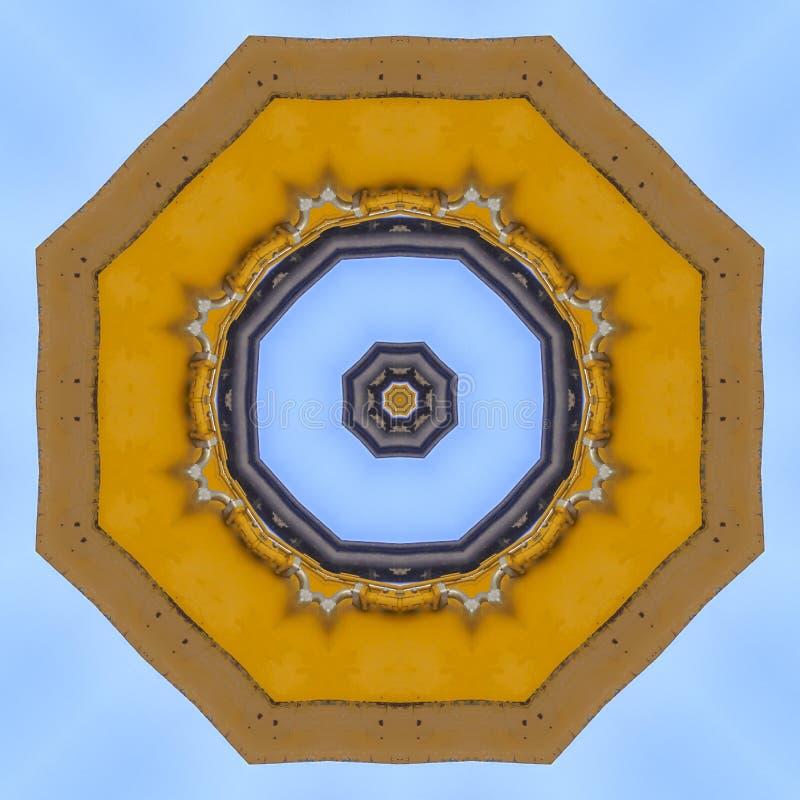 抽象emlem由黄色拖拉机胳膊做了 库存例证