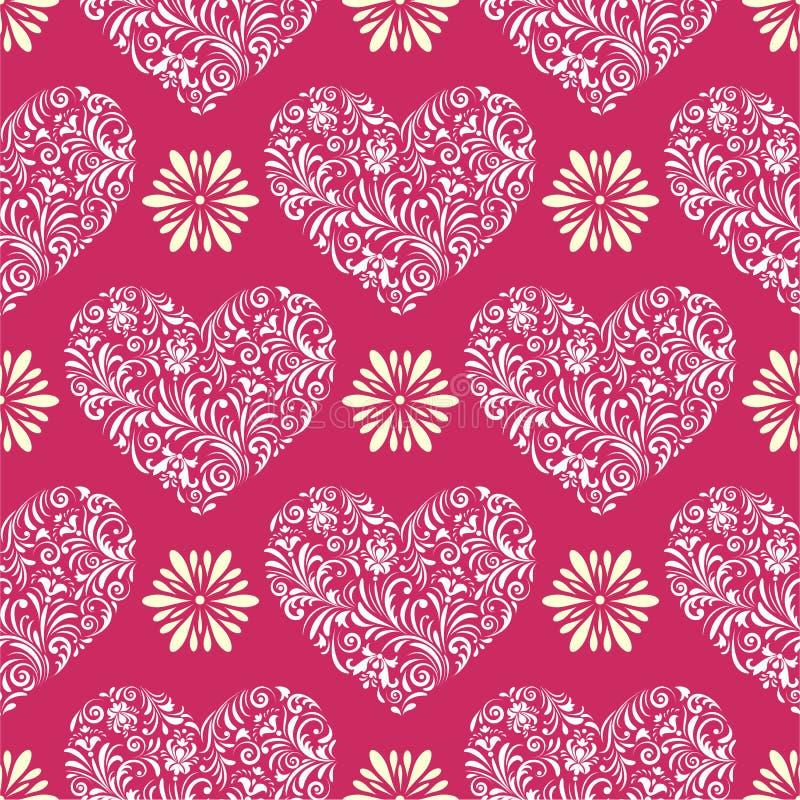 抽象florall心脏 库存例证