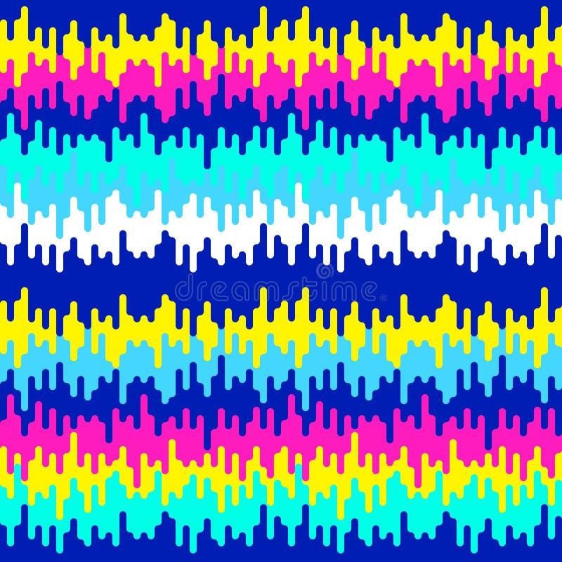 抽象geometic背景、欢乐样式与熔化的形状和条纹 80s的明亮和生动的颜色,90s霓虹样式 库存例证