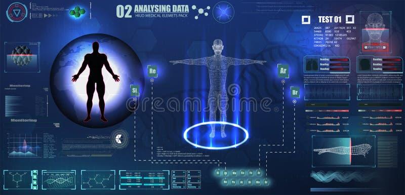 抽象hud接口数字资料图的全息图元素技术ui未来派概念人的数字式脱氧核糖核酸医疗保健, 皇族释放例证