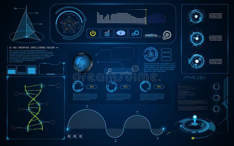 抽象HUD接口UI屏幕聪明的技术创新概念模板背景 皇族释放例证