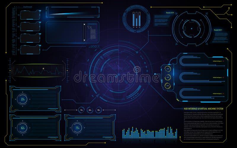 抽象hud接口UI技术虚拟机连续模板背景 皇族释放例证
