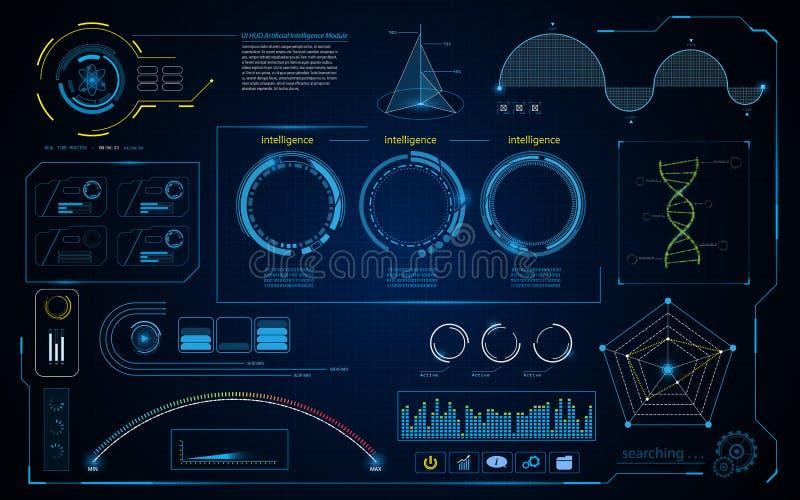 抽象hud智力接口数据计算的屏幕构思设计背景 库存例证