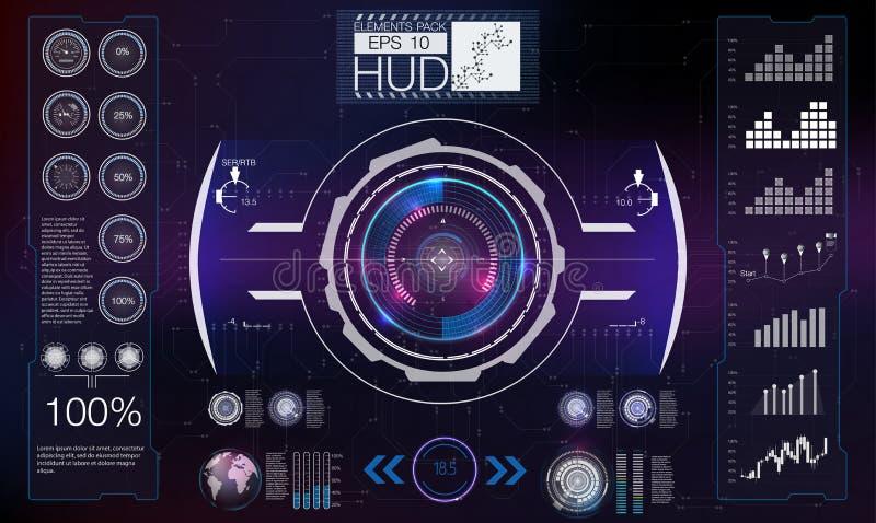 抽象HUD 未来派科学幻想小说现代用户界面集合 向量例证