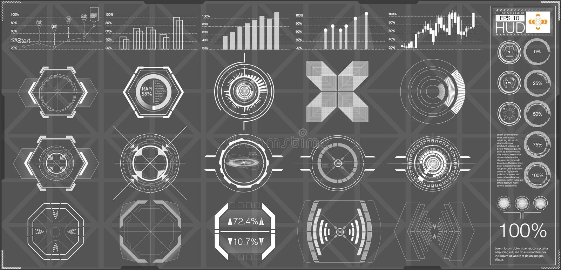 抽象HUD 未来派科学幻想小说现代用户界面集合 皇族释放例证