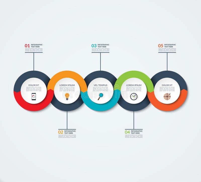 抽象infographic模板 与5个选择,步,圈子的企业概念 向量例证