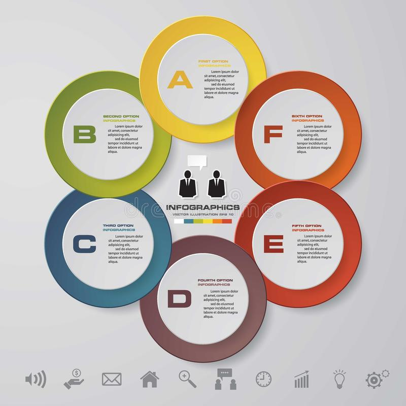 抽象infographics企业模板 6步顺序 皇族释放例证