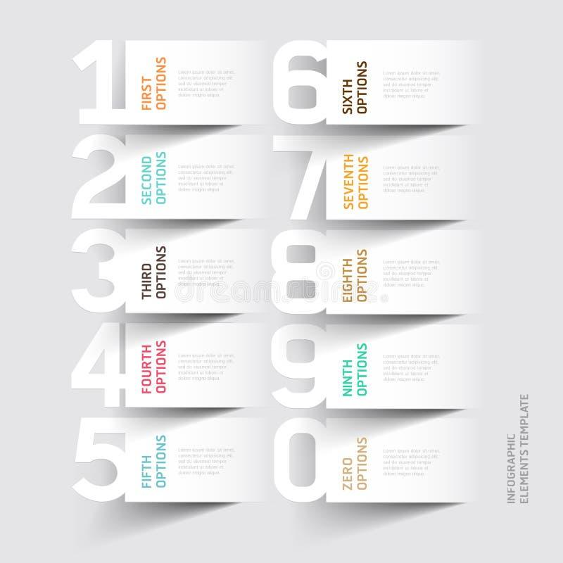抽象infographics数字选择模板。 皇族释放例证