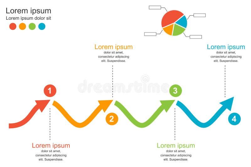 抽象infographics模板,4步箭头波浪图解表,infographic企业的概念,传染媒介例证 皇族释放例证