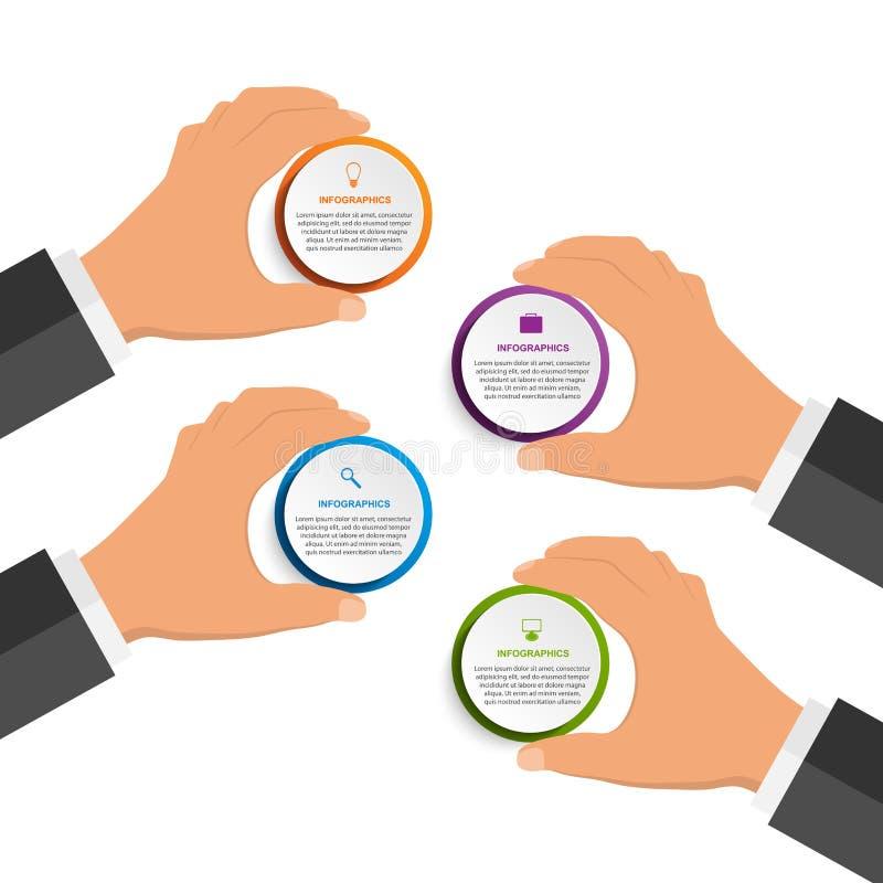 抽象infographics设计模板用拿着回合块的人的手 向量例证