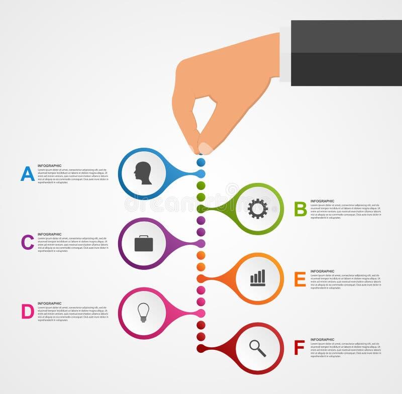 抽象infographics设计模板用拿着回合块的人的手 皇族释放例证