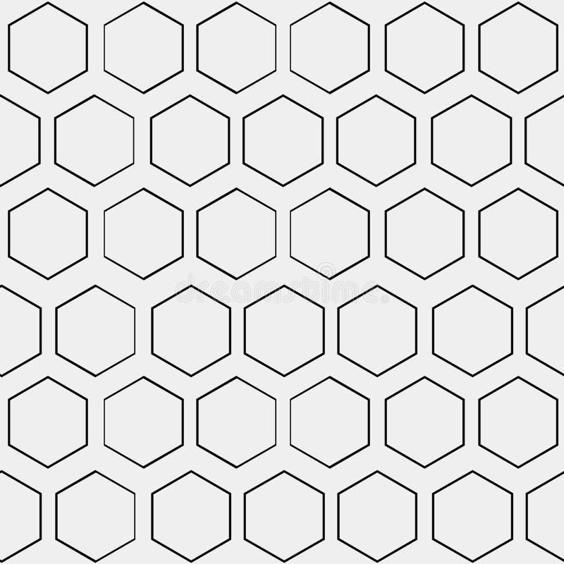 抽象minimalistic黑白样式六角形 库存例证