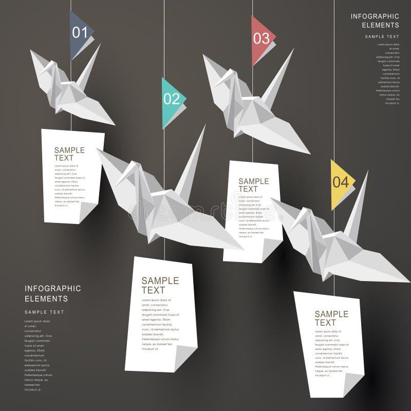 抽象origami纸抬头infographics 皇族释放例证