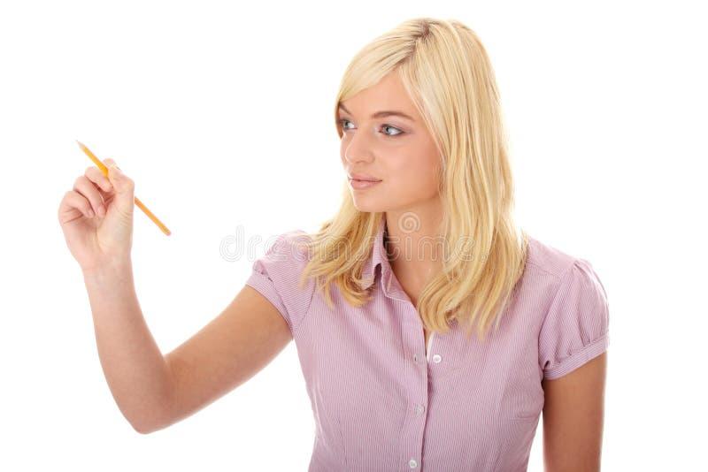 抽象screan青少年的妇女文字 免版税库存照片