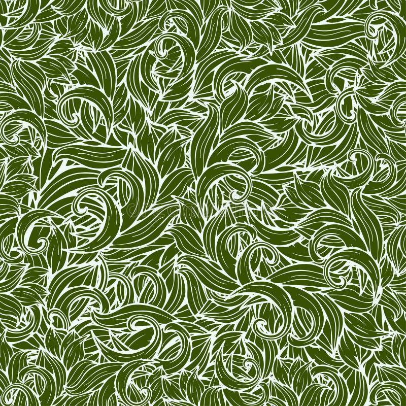 抽象scrollwork无缝的样式,传染媒介背景 绿色植物,草,卷毛,挥动 自然风格化花饰 手 库存例证