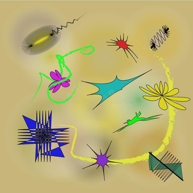 抽象suprematism构成 Kandinsky样式 用不同的形状的抽象绘画模板 现代的艺术 向量例证