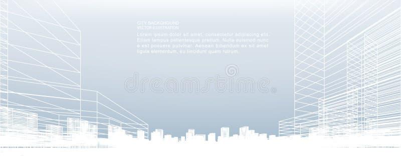 抽象wireframe城市背景 透视3d回报 向量例证