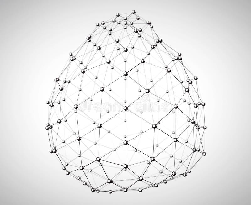抽象Wireframe球形 3d翻译 皇族释放例证