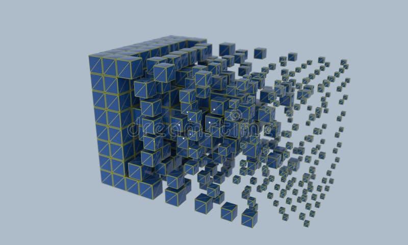 抽象wireframe立方体, 3d 库存例证