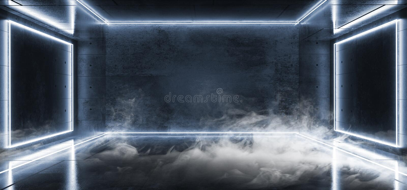 抽黑暗的空的真正充满活力的萤光氖发光的白色蓝色长方形框架塑造激光反射难看的东西 库存例证