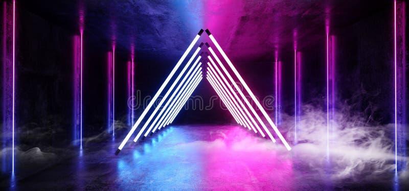 抽黑暗的空的真正充满活力的萤光霓虹发光的紫色蓝色三角线塑造了门阶段激光反射 向量例证