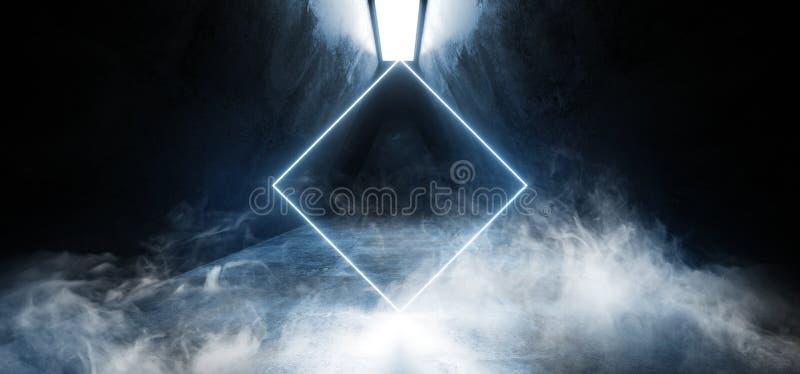 抽黑暗的难看的东西混凝土背景涂柏油错觉萤光蓝色充满活力的发光的空的空间的霓虹虚拟现实 向量例证