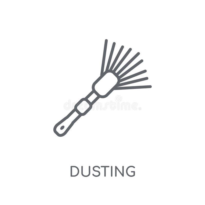 拂去的灰尘的线性象 在丝毫的现代概述打扫灰尘商标概念 皇族释放例证