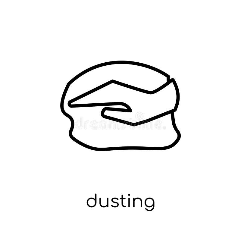 拂去的灰尘的象 在w的时髦现代平的线性传染媒介打扫灰尘象 库存例证