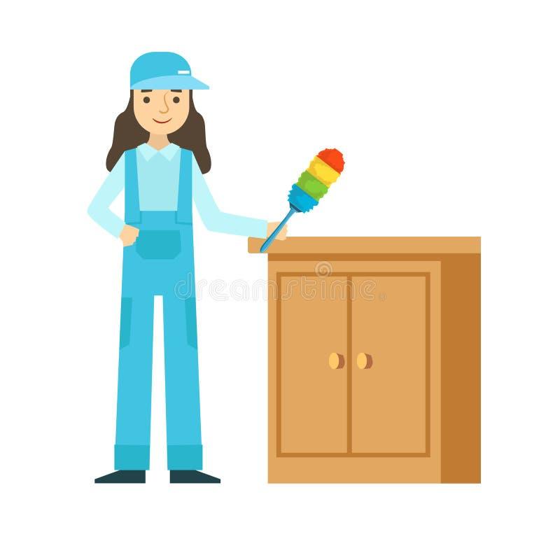 拂去家具,在一致的清洁的清洗的服务专业擦净剂的灰尘妇女在家庭 皇族释放例证