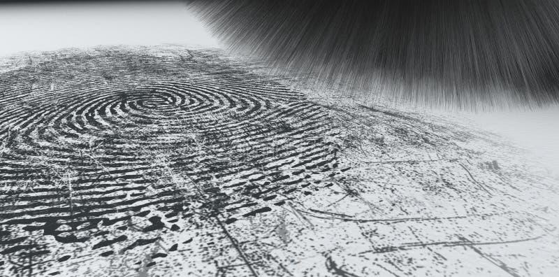 拂去灰尘在白色的指纹的 库存照片