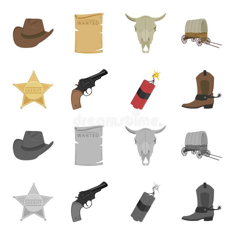 担任主角警长,马驹,炸药,牛仔靴 狂放的在动画片,单色样式传染媒介标志的西部集合汇集象 皇族释放例证