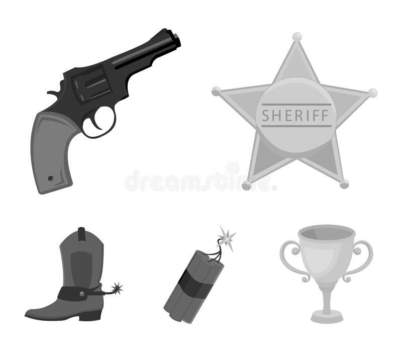 担任主角警长,马驹,炸药,牛仔靴 狂放的在单色样式的西部集合汇集象导航标志股票 向量例证