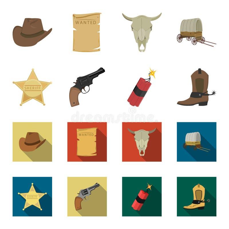 担任主角警长,马驹,炸药,牛仔靴 狂放的在动画片,平的样式传染媒介标志股票的西部集合汇集象 皇族释放例证