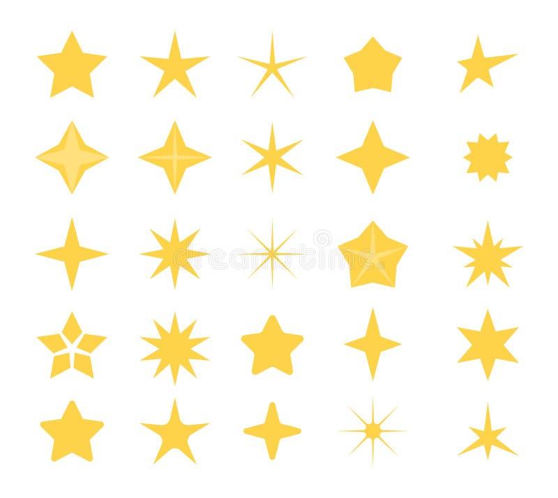 担任主角象 一套不同的形状星商标的 在白色背景隔绝的星剪影  向量 库存例证