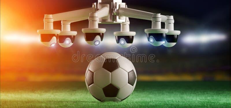 担任仲裁的照相机协助足球比赛概念- 图库摄影