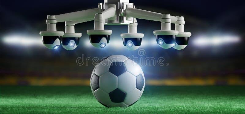 担任仲裁的照相机协助足球比赛概念- 库存照片