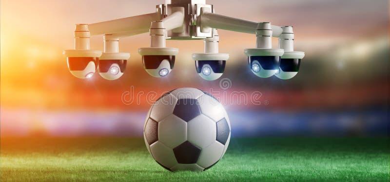 担任仲裁的照相机协助足球比赛概念- 免版税库存照片