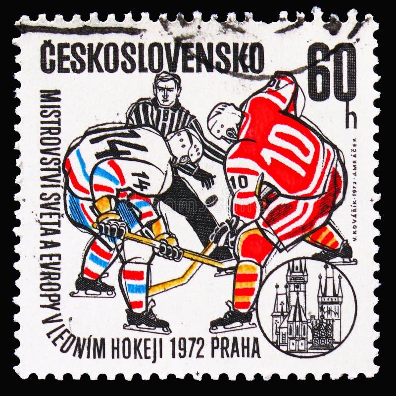 担任仲裁,两个曲棍球运动员在恶霸,冰球世界和E 免版税库存图片