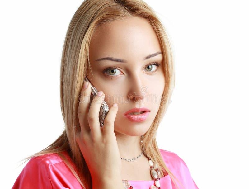 担心的白肤金发的妇女 免版税库存图片