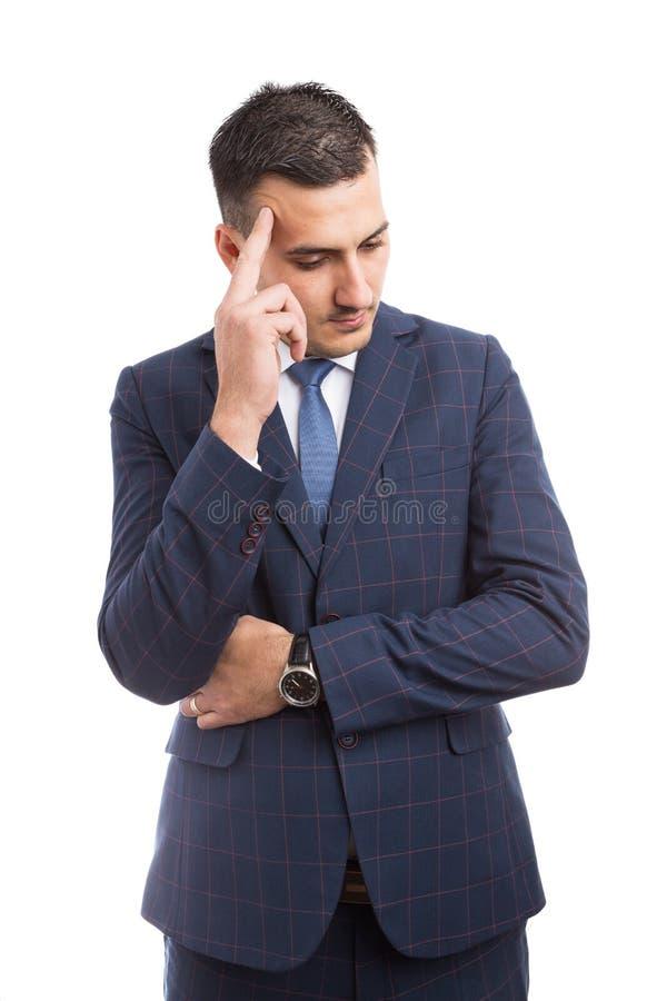 担心的销售人或经纪认为 图库摄影