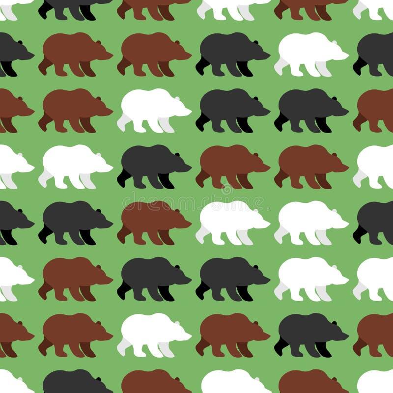 负担无缝的样式 野生北美灰熊背景  向量例证