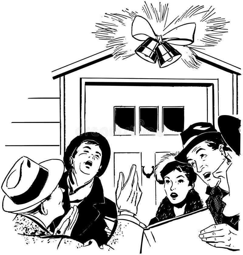 负担欢唱圣诞节逗人喜爱的企鹅极性街灯二下 皇族释放例证