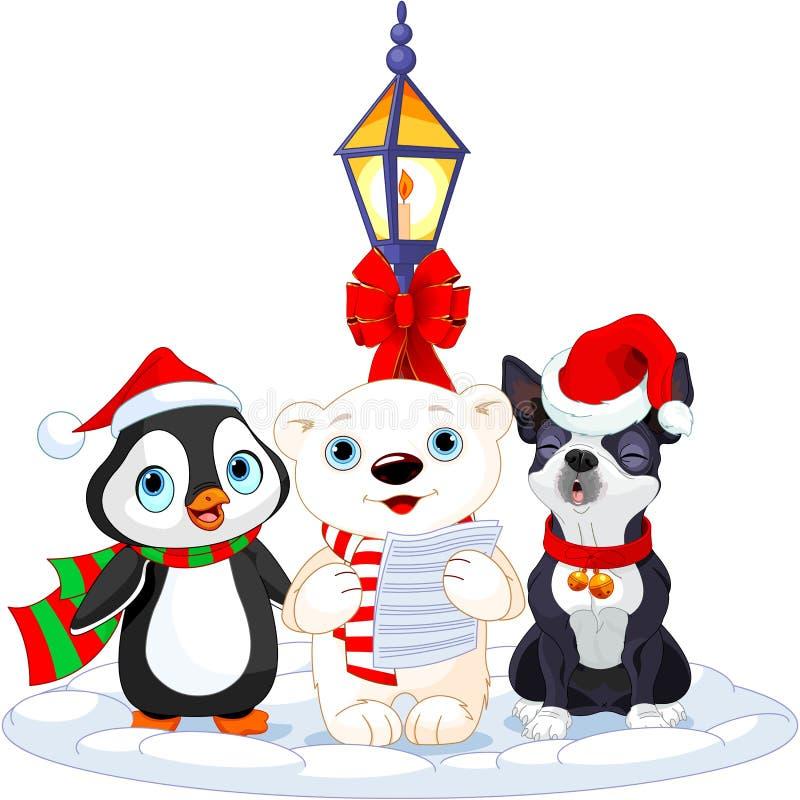 负担欢唱圣诞节逗人喜爱的企鹅极性街灯二下 库存例证