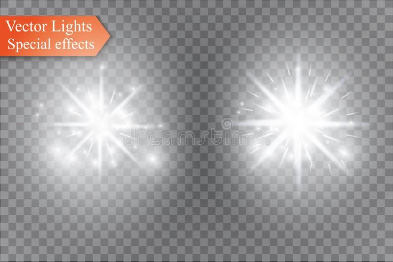 担任主角在透明背景,光线影响,传染媒介例证 与闪闪发光的爆炸 皇族释放例证