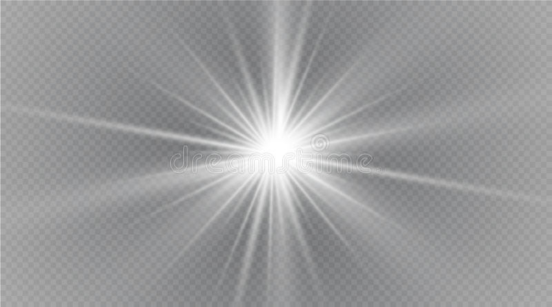 担任主角在透明背景,光线影响,传染媒介例证 与闪闪发光的爆炸 库存例证