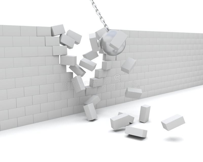 拆毁墙壁击毁的球 向量例证