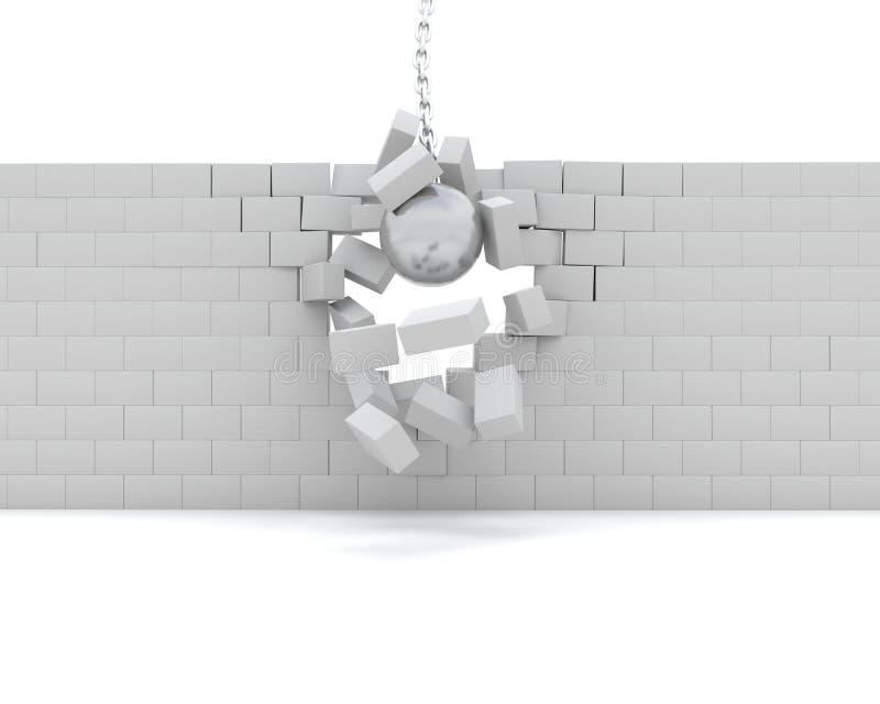 拆毁墙壁击毁的球 库存例证