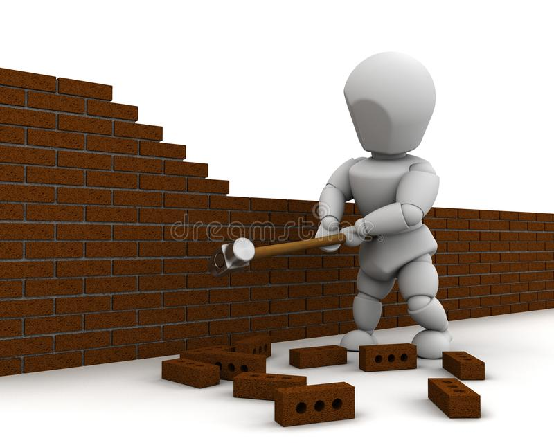 拆毁锤子人爬犁墙壁 库存例证